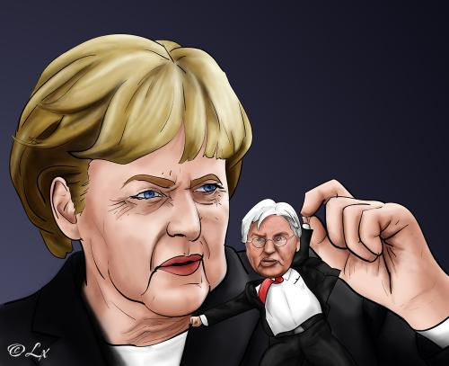 Cartoon: Angela Merkel (medium) by lexluther tagged merkel,angela,steinmeier,deutschland,bundesrepublik,bundeskanzler,bundeskanzlerin