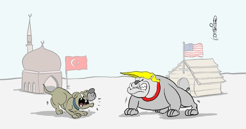 Cartoon: Hundegebell (medium) by Marcus Gottfried tagged syrien,is,kurden,usa,trump,türkei,erdogan,syrien,is,kurden,usa,trump,türkei,erdogan