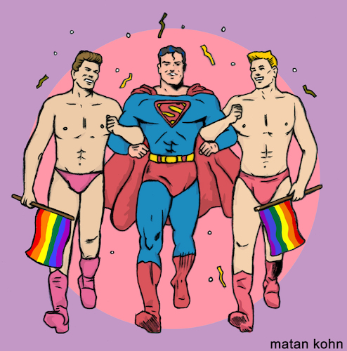 Cartoon: Supergay (medium) by matan_kohn tagged gay,homo,praide,gayflag,homosexual,gays,gaypraide2018,superman,comics,reinbow,gayrights,pink,funny,drawing