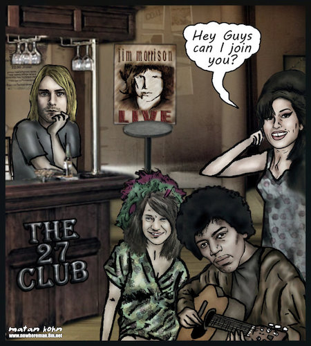 Cartoon: The 27 club  amy winehouse join (medium) by matan_kohn tagged amy,winehouse,kurt,cobain,jimi,hendrix,janis,joplin,jim,morrison,dead,club,music,lagend,sad,caricature,musicians,usually,included