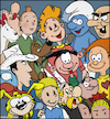 Cartoon: I love Belgium comics (small) by matan_kohn tagged belgium,comics,comic,belgiumcomics,brussels,tintin,smurfs,asterix,marsupilami,spirou,gaston,obelix,rantanplan,snowy,gargamel,fantasio,illustration,drawing,digitalart,artwork,caricature,fanart,luckyluke