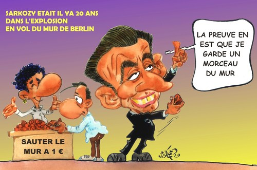 Cartoon: SARKOZY (medium) by SOLER tagged berlin,muro,sarkozy