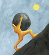 Cartoon: Sisyphus 1 (small) by Davor tagged sisyphos,anstrengung,philosophy,rock,hill,mountain,up,effort