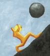 Cartoon: Sisyphus 2 (small) by Davor tagged sisyphos,anstrengung,philosophy,rock,hill,mountain,up,effort