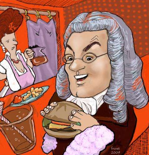 Cartoon: Bachs Lunch (medium) by frostyhut tagged composer,burger,diner,waitress,fries,soda,pop,cola,hamburger,wig,bach,classical,glasses,ketchup,catsup