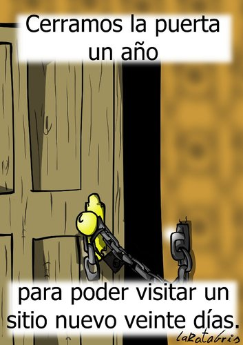 Cartoon: un anyo de vacaciones (medium) by LaRataGris tagged vacaciones