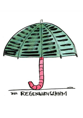 Cartoon: Regenwurmschirm (medium) by Kossak tagged schirm,umbrella,wurm,worm,regenwurm,regen,rain,tier,animal,wurm,regenwurm,schirm,regen,regenschirm