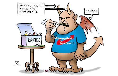 Cartoon: AfD-Spitze (medium) by Harm Bengen tagged doppelspitze,meuthen,chrupalla,flügel,kreide,afd,kurs,richtungsstreit,rechts,rechtsextrem,rechtsradikal,parteitag,nazis,faschisten,monster,teufel,harm,bengen,cartoon,karikatur,doppelspitze,meuthen,chrupalla,flügel,kreide,afd,kurs,richtungsstreit,rechts,rechtsextrem,rechtsradikal,parteitag,nazis,faschisten,monster,teufel,harm,bengen,cartoon,karikatur