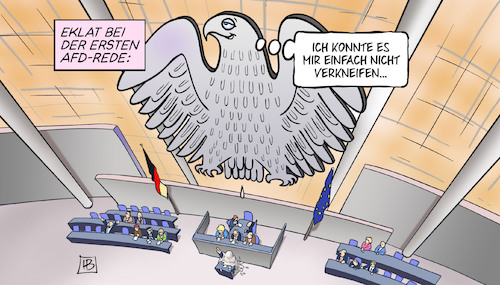 Cartoon: AfD im Bundestag (medium) by Harm Bengen tagged eklat,afd,rede,verkneifen,bundestag,bundesadler,schiss,scheisse,rechtsradikal,rechtsextrem,harm,bengen,cartoon,karikatur,eklat,afd,rede,verkneifen,bundestag,bundesadler,schiss,scheisse,rechtsradikal,rechtsextrem,harm,bengen,cartoon,karikatur