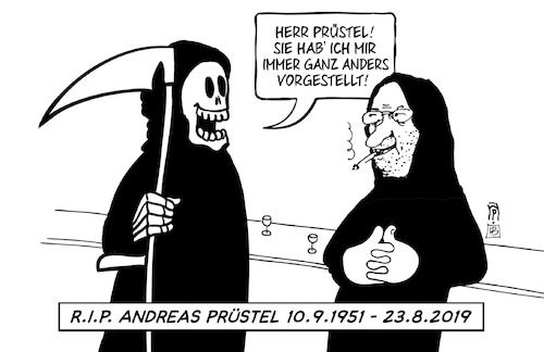 Cartoon: Andreas Prüstel (medium) by Harm Bengen tagged andreas,prüstel,rip,künstler,cartoonist,tod,tot,harm,bengen,cartoon,karikatur,andreas,prüstel,rip,künstler,cartoonist,tod,tot,harm,bengen,cartoon,karikatur