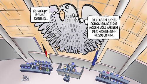 Cartoon: Armenien-Resolution (medium) by Harm Bengen tagged armenien,resolution,bundestag,bundesadler,geruch,gestank,hosen,voll,völkermord,genozid,türkei,harm,bengen,cartoon,karikatur,armenien,resolution,bundestag,bundesadler,geruch,gestank,hosen,voll,völkermord,genozid,türkei,harm,bengen,cartoon,karikatur