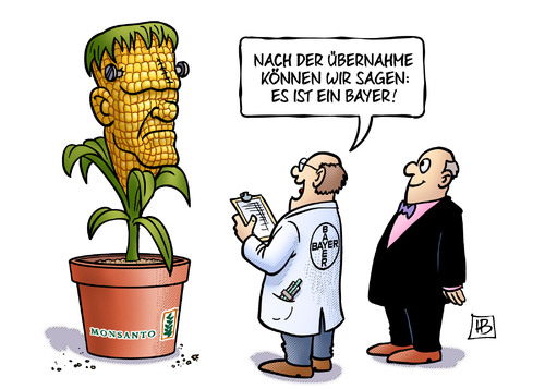 Cartoon: Bayer-Monsanto (medium) by Harm Bengen tagged übernahme,börse,aktien,bayer,monsanto,gift,genverändert,saatgut,mais,frankenstein,umwelt,harm,bengen,cartoon,karikatur,übernahme,börse,aktien,bayer,monsanto,gift,genverändert,saatgut,mais,frankenstein,umwelt,harm,bengen,cartoon,karikatur