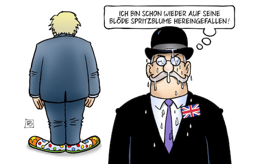 Cartoon: BoJo-Blume (medium) by Harm Bengen tagged spritzblume,hereingefallen,clown,verlängerung,neuwahlen,brexit,unterhaus,regierung,boris,johnson,gb,uk,harm,bengen,cartoon,karikatur,spritzblume,hereingefallen,clown,verlängerung,neuwahlen,brexit,unterhaus,regierung,boris,johnson,gb,uk,harm,bengen,cartoon,karikatur