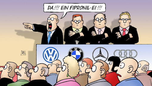 Cartoon: Das Ei als Retter (medium) by Harm Bengen tagged fipronil,dieselskandal,abgasskandal,vw,daimler,merceds,bmw,audi,automobilindustrie,ablenkung,eierskandal,harm,bengen,cartoon,karikatur,fipronil,dieselskandal,abgasskandal,vw,daimler,merceds,bmw,audi,automobilindustrie,ablenkung,eierskandal,harm,bengen,cartoon,karikatur