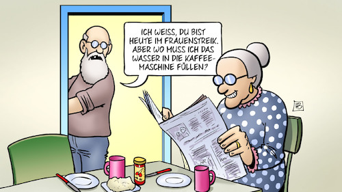 Cartoon: Frauenstreik (medium) by Harm Bengen tagged frauenstreik,internationaler,frauentag,susemil,mann,wasser,kaffeemaschine,hausarbeit,harm,bengen,cartoon,karikatur,frauenstreik,internationaler,frauentag,susemil,mann,wasser,kaffeemaschine,hausarbeit,harm,bengen,cartoon,karikatur