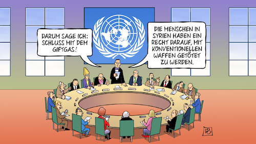 Cartoon: Giftgas (medium) by Harm Bengen tagged giftgas,un,vereinte,nationen,sicherheitsrat,krieg,syrien,assad,recht,konventionelle,waffen,töten,tod,harm,bengen,cartoon,karikatur,giftgas,un,vereinte,nationen,sicherheitsrat,krieg,syrien,assad,recht,konventionelle,waffen,töten,tod,harm,bengen,cartoon,karikatur