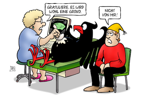 Cartoon: Groko-Vaterschaft (medium) by Harm Bengen tagged gratulieren,groko,bundesadler,deutscher,michel,schwangerschaft,ultraschall,krankenschwester,harm,bengen,cartoon,karikatur,gratulieren,groko,bundesadler,deutscher,michel,schwangerschaft,ultraschall,krankenschwester,harm,bengen,cartoon,karikatur