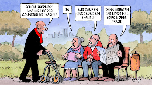 Cartoon: Grundrentenkompromiss (medium) by Harm Bengen tagged grundrentenkompromiss,eauto,elektroauto,kaufprämie,6000,rentner,einkommensprüfung,grundrente,bank,harm,bengen,cartoon,karikatur,grundrentenkompromiss,eauto,elektroauto,kaufprämie,6000,rentner,einkommensprüfung,grundrente,bank,harm,bengen,cartoon,karikatur