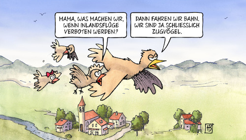 Cartoon: Inlandsflüge (medium) by Harm Bengen tagged vögel,vogel,mutter,kinder,inlandsflüge,verboten,co2,klimawandel,bahn,zugvögel,grüne,harm,bengen,cartoon,karikatur,vögel,vogel,mutter,kinder,inlandsflüge,verboten,co2,klimawandel,bahn,zugvögel,grüne,harm,bengen,cartoon,karikatur