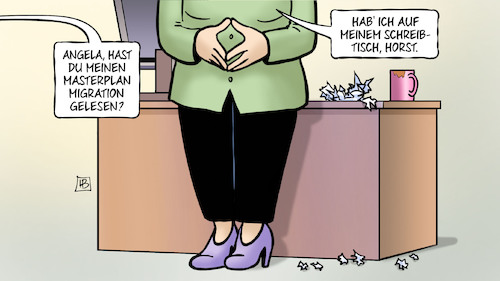 Cartoon: Masterplan Migration (medium) by Harm Bengen tagged angela,merkel,raute,masterplan,migration,schreibtisch,horst,seehofer,cdu,csu,streit,harm,bengen,cartoon,karikatur,angela,merkel,raute,masterplan,migration,schreibtisch,horst,seehofer,cdu,csu,streit,harm,bengen,cartoon,karikatur