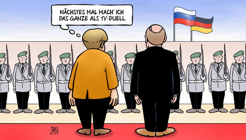 Cartoon: Merkel-Putin-Duell (medium) by Harm Bengen tagged tv,duell,putin,besuch,berlin,kanzleramt,merkel,normandieformat,ukraine,soldaten,bundeswehr,staatsempfang,harm,bengen,cartoon,karikatur,tv,duell,putin,besuch,berlin,kanzleramt,merkel,normandieformat,ukraine,soldaten,bundeswehr,staatsempfang,harm,bengen,cartoon,karikatur