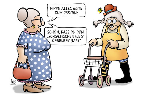 Cartoon: Pippi 75 (medium) by Harm Bengen tagged pippi,langstrumpf,75,geburtstag,rollator,schwedischer,weg,corona,harm,bengen,cartoon,karikatur,pippi,langstrumpf,75,geburtstag,rollator,schwedischer,weg,corona,harm,bengen,cartoon,karikatur