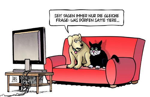 Cartoon: Satte Tiere (medium) by Harm Bengen tagged frage,satte,tiere,hund,katze,sofa,tv,boehmermann,satire,erdogan,pressfreiheit,meinungsfreiheit,kunstfreiheit,harm,bengen,cartoon,karikatur,frage,satte,tiere,hund,katze,sofa,tv,boehmermann,satire,erdogan,pressfreiheit,meinungsfreiheit,kunstfreiheit,harm,bengen,cartoon,karikatur
