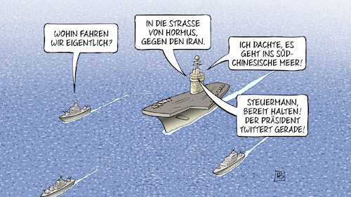 Cartoon: Twitterkurs (medium) by Harm Bengen tagged twitterkurs,usa,trump,flugzeugträger,kriegsschiffe,strasse,hormus,iran,südchinesisches,meer,china,steuermann,harm,bengen,cartoon,karikatur,twitterkurs,usa,trump,flugzeugträger,kriegsschiffe,strasse,hormus,iran,südchinesisches,meer,china,steuermann,harm,bengen,cartoon,karikatur