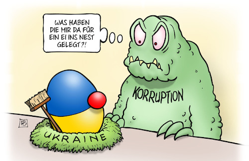Cartoon: Ukraine-Nest (medium) by Harm Bengen tagged ei,ostern,nest,ukraine,wahl,korruption,selenskyj,präsident,harm,bengen,cartoon,karikatur,ei,ostern,nest,ukraine,wahl,korruption,selenskyj,präsident,harm,bengen,cartoon,karikatur