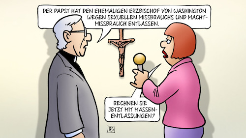 Cartoon: Vatikan-Entlassungen (medium) by Harm Bengen tagged papst,erzbischof,washington,sexueller,missbrauch,machtmissbrauch,entlassen,massenentlassungen,vatikan,usa,interview,harm,bengen,cartoon,karikatur,papst,erzbischof,washington,sexueller,missbrauch,machtmissbrauch,entlassen,massenentlassungen,vatikan,usa,interview,harm,bengen,cartoon,karikatur