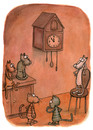 Cartoon: Five to twelve (small) by vladan tagged cuckoo,clock,cats,waiting