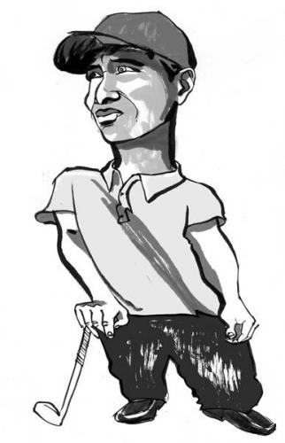 Cartoon: Tiger Woods (medium) by Darren Crow tagged tiger,woods,celebrity,editorial
