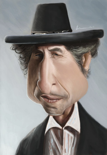 Cartoon: Bob Dylan (medium) by jonesmac2006 tagged caricature