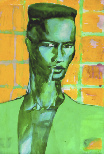 Cartoon: Grace Jones Portrait (medium) by MontseCastellano tagged grace,jones,pop,art,green,yellow,watercolor