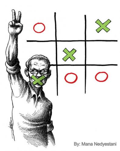 Cartoon: Victory (medium) by iranian cartoonist tagged iran,dictator,victory,election,iranian,green,movement