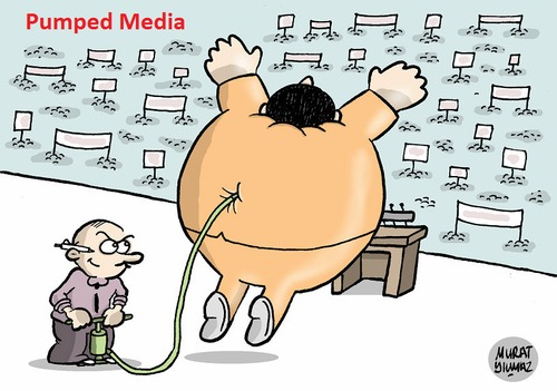 Cartoon: Pumped Media (medium) by Murat tagged pump,media