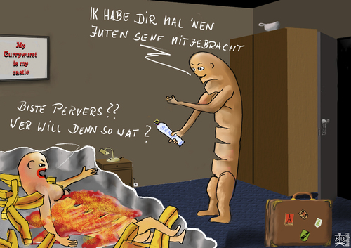 Cartoon: currywurst - Senf (medium) by Dadaphil tagged currywurst,berlin,coming,home,senf,mostard,ketchup
