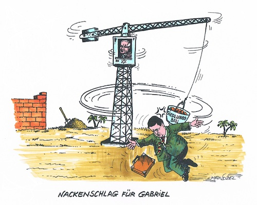Cartoon: Eklat beim Israel-Besuch (medium) by mandzel tagged gabriel,netanjahu,deutschland,israel,siedlungsbau,mandzel,karikatur,gabriel,netanjahu,deutschland,israel,siedlungsbau,mandzel,karikatur