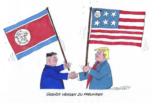 Cartoon: Trump und Kim (medium) by mandzel tagged nordkorea,trump,kim,treffen,singapur,usa,abrüstung,frieden,nordkorea,trump,kim,treffen,singapur,usa,abrüstung,frieden