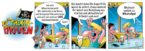 Cartoon: Die Thekenpiraten 99 (medium) by stefanbayer tagged theke,piraten,thekenpiraten,bar,lounge,club,gastronomie,thekengespräch,bier,wein,sms,whatsapp,app,smartphone,netzwerke,sozial,stress,ehe,beziehung,stefanbayer