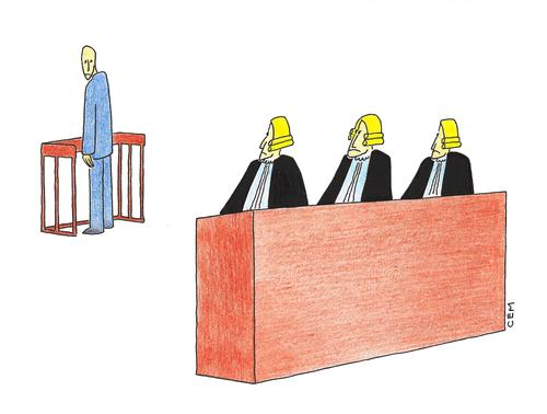 Cartoon: Court and defendant (medium) by cemkoc tagged abogado,juge,le,juridiction,la,cour,droit,legal,richter,attorney,lawyer,prosecutor,public,prosecution,tribunal,trial,defendant,last,court,supreme,justice,judicial,judge,judgement,themis,cartoons,law,karikatürleri,hukuk,defense