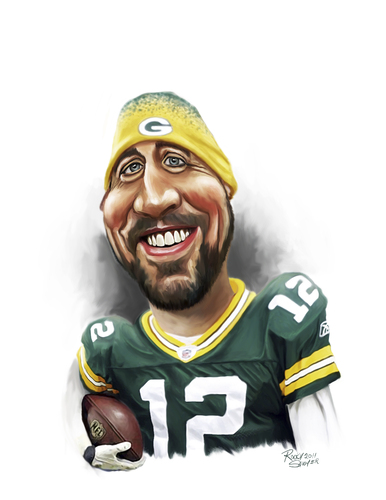 Cartoon: Aaron Rodgers (medium) by rocksaw tagged aaron,rodgers