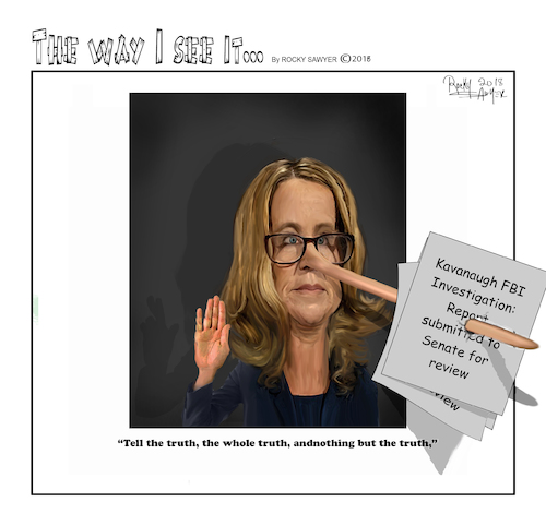 Cartoon: Christine Blasey Ford (medium) by rocksaw tagged caricature,christine,blasey,ford