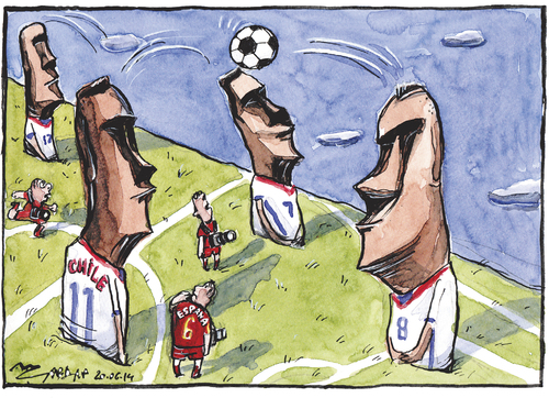Cartoon: Espana 0 Chile 2 (medium) by Tchavdar tagged easter,island,chile,espana,worldcup,football,rapa,nui