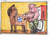 Cartoon: New trojan horse (small) by Tchavdar tagged trojan,horse,tsipras,putin,eurounion,euroasia,ges,station,benzine,gasoline,greece,russia
