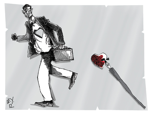 Cartoon: running (medium) by emre yilmaz tagged running,capitalism,love