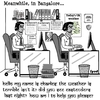 Cartoon: Bangalore (small) by cartoonsbyspud tagged cartoon,spud,hr,recruitment,office,life,outsourced,marketing,it,finance,business,paul,taylor