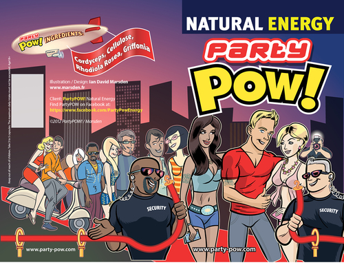 Cartoon: Party POW! Natural Energy (medium) by ian david marsden tagged party,pow,natural,energy,supplement,illustration,vector,packaging,verpackung,cool,scene,skyline,illustrator
