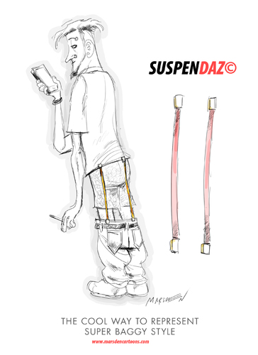 Cartoon: Suspendaz The Hottest New Trend (medium) by ian david marsden tagged baggy,pants,hip,hop,suspenders,trend,fashion,look,hot,cool,hipster,haute,couture,marsden
