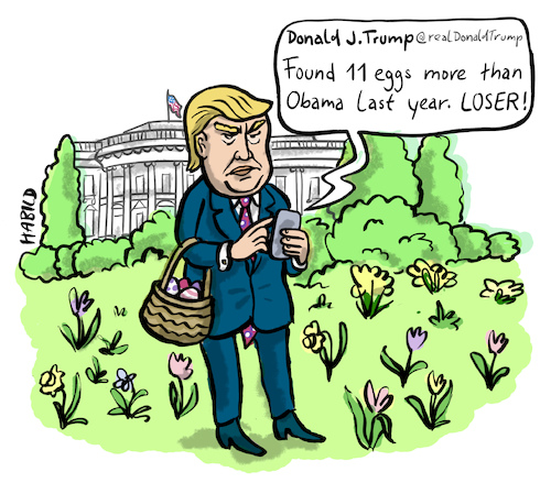 Cartoon: eastern at the white house (medium) by habild tagged easter,eggs,donald,trump,ostern,eiersuchen,weißes,haus